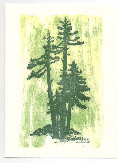 Sequoia holiday card, woodcut by Ilse Buchert Nesbitt