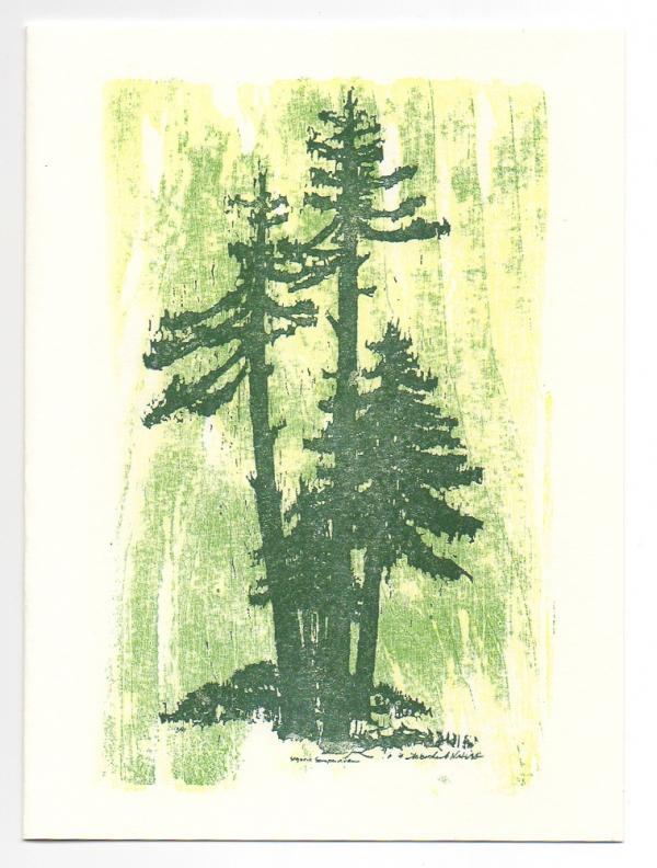 Sequoia holiday card, woodcut by Ilse Buchert Nesbitt