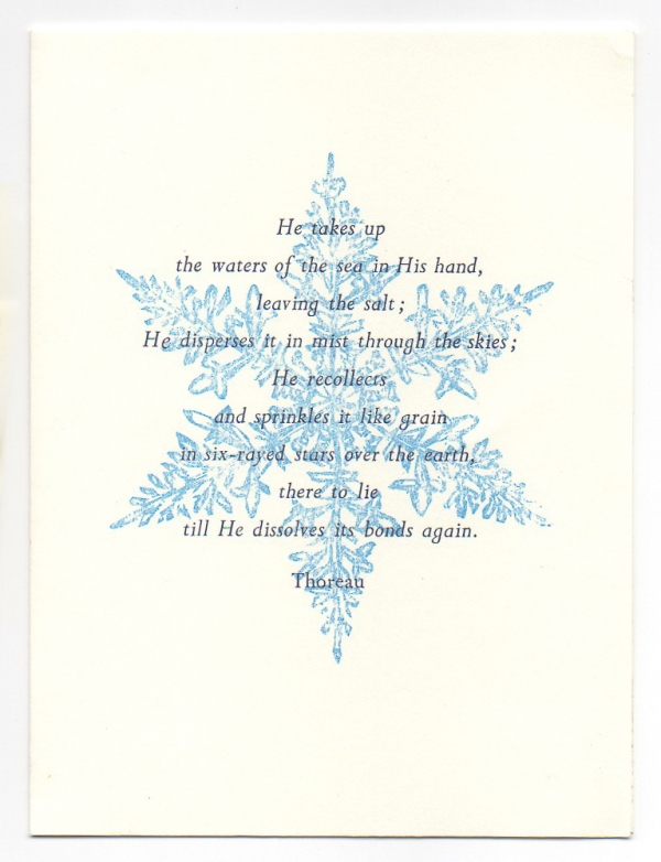 Snowflake greeting card, woodcut by Ilse Buchert Nesbitt