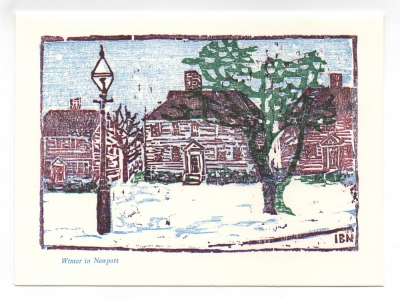 Washington Street greeting card, woodcut by Ilse Buchert Nesbitt