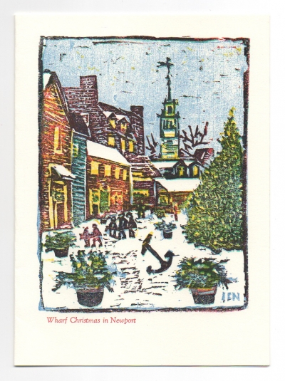 Wharf Christmas greeting card, woodcut by Ilse Buchert Nesbitt