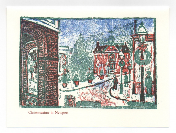 Winter Day in Newport, Washington Square greeting card. Woodcut by Ilse Buchert Nesbitt.