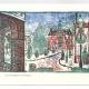 Winter Day in Newport, Washington Square greeting card. Woodcut by Ilse Buchert Nesbitt.