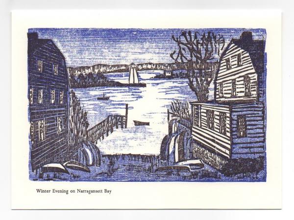 Winter Evening Over Bay Greeting Card, woodcut by Ilse Buchert Nesbitt