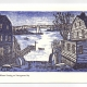 Winter Evening Over Bay Greeting Card, woodcut by Ilse Buchert Nesbitt