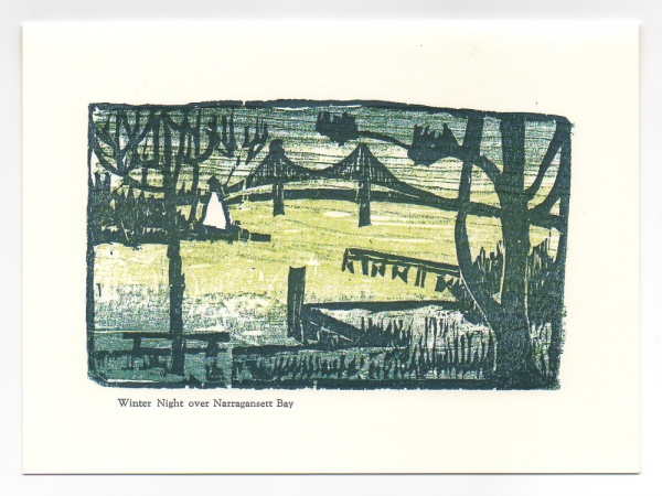 Winter Night over Bay Greeting Card, woodcut by Ilse Buchert Nesbitt