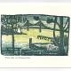 Winter Night over Bay Greeting Card, woodcut by Ilse Buchert Nesbitt