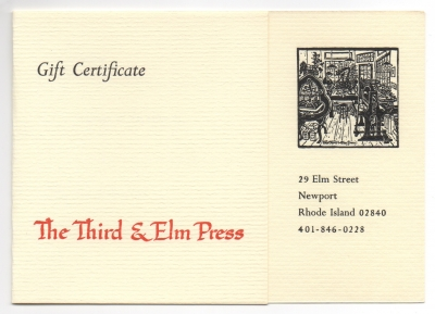 Handmade paper gift certificate from the Third and Elm Press